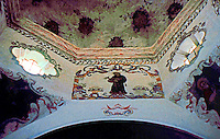 AZ: Tucson--San Xavier Del Bac Interior, Supports of domed crossing. Photo '96.