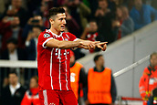 September 12th 2017, Munich, Germany, Champions League football, Bayern Munich versus Anderlecht;  Robert Lewandowski of Bayern Munchen celebrates his goal from the penalty spot in the 12th minute