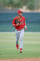 GCL Cardinals center fielder Jonathan Machado (3) jogs back to the dugout during a game against the GCL Mets on July 23, 2017 at Roger Dean Stadium Complex in Jupiter, Florida.  GCL Cardinals defeated the GCL Mets 5-3.  (Mike Janes/Four Seam Images)