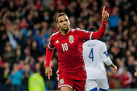 Wednesday 4th  December 2013 Pictured: Hal Robson-Kanu of Wales  Celebrates  his goal <br /> Re: UEFA European Championship Wales v Cyprus at the Cardiff City Stadium, Cardiff, Wales, UK