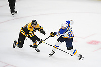 June 6, 2019: Boston Bruins defenseman John Moore (27) and St. Louis Blues left wing Alexander Steen (20) in game action during game 5 of the NHL Stanley Cup Finals between the St Louis Blues and the Boston Bruins held at TD Garden, in Boston, Mass. The Blues defeat the Bruins 2-1 in regulation time. Eric Canha/CSM