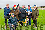 Lixnaw Coursing : Jim Kennelly, Gortacloghane, Listowel owner of Social Sally winner of the Working Member Stake accepting the trophy from Conor O'Keeffe. L- R : Conor O'Keeffe, Moss Kelliher, Jim Kennelly, Mattie Carmody, Pat O'Sullivan & Paddy Sheehy.