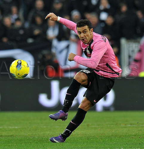 18.12.2011. Turin, Italy.   Fabio Quagliarella Juventus tales a low hard shot on goal.  Series A 2011 2012 Juventus Torino vs Novara