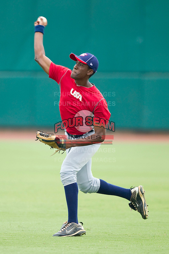 Right fielder Brian Ragira #18 during the USA Baseball 18U National Team Trials at the USA Baseball National Training Center on June 30, 2010, in Cary, North Carolina.  Photo by Brian Westerholt / Four Seam Images