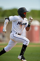 GCL Marlins Nasim Nunez (1) runs to first base during a Gulf Coast League game against the GCL Astros on August 8, 2019 at the Roger Dean Chevrolet Stadium Complex in Jupiter, Florida.  GCL Astros defeated GCL Marlins 4-2.  (Mike Janes/Four Seam Images)