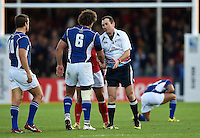 Referee Glen Jackson shakes hands with Jacques Burger of Namibia after the match. Rugby World Cup Pool C match between Tonga and Namibia on September 29, 2015 at Sandy Park in Exeter, England. Photo by: Patrick Khachfe / Onside Images