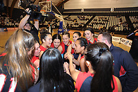 St Peter's School celebrates winning the 2018 Schick AA Girls' Secondary Schools Basketball Premiership National Championship final between Hutt Valley High School and St Peter's School Cambridge at the B&M Centre in Palmerston North, New Zealand on Saturday, 6 October 2018. Photo: Dave Lintott / lintottphoto.co.nz