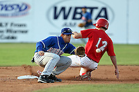 June 18th 2008:  Steve Condotta of the Auburn Doubledays, Class-A affiliate of the Toronto Blue Jays, takes the throw as Shane Peterson (12) slides in during a game at Dwyer Stadium in Batavia, NY.  Photo by:  Mike Janes/Four Seam Images