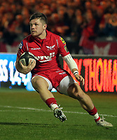 Steffan Evans of the Scarlets in action during the Guinness PRO14 match between Scarlets and Cardiff Blues at Parc Y Scarlets Stadium, Llanelli, Wales, UK. Saturday 28 October 2017