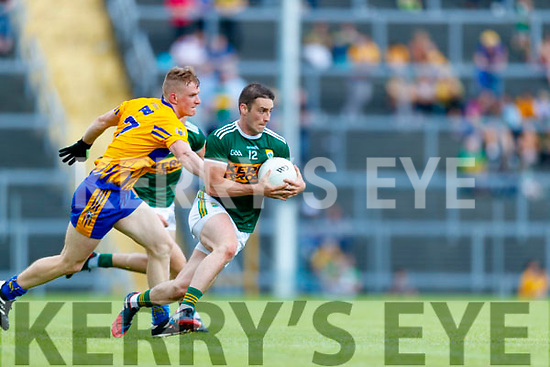 Stephen O'Brien Kerry in action against Pearse Lillis Clare during the Munster GAA Football Senior Championship semi-final match between Kerry and Clare at Fitzgerald Stadium in Killarney on Sunday.