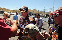 Apr 10, 2008; Avondale, AZ, USA; NASCAR Sprint Cup Series driver Kyle Busch during practice for the Subway Fresh Fit 500 at Phoenix International Raceway. Mandatory Credit: Mark J. Rebilas-