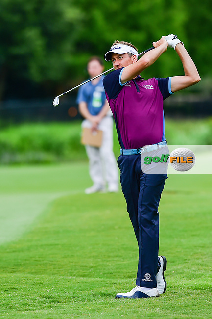 Ian Poulter (GBR) watches his approach shot on 3 during the round 1 of  the AT&amp;T Byron Nelson, TPC Four Seasons, Irving, Texas, USA. 5/19/2016.<br /> Picture: Golffile | Ken Murray<br /> <br /> <br /> All photo usage must carry mandatory copyright credit (&copy; Golffile | Ken Murray)