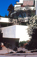 Rudolph Schindler: Falk Apartments, NE corner of Lucile and Carnation Ave. 1939. On extremely difficult hillside site. Schindler twists and turns this building so that each unit has its own garden.