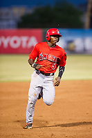 AZL Angels center fielder Johan Sala (5) hustles towards third base against the AZL White Sox on August 14, 2017 at Diablo Stadium in Tempe, Arizona. AZL Angels defeated the AZL White Sox 3-2. (Zachary Lucy/Four Seam Images)