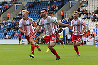 Danny Newton of Stevenage of Stevenage scores the first goal for his team and celebrates during Colchester United vs Stevenage, Sky Bet EFL League 2 Football at the Weston Homes Community Stadium on 12th August 2017