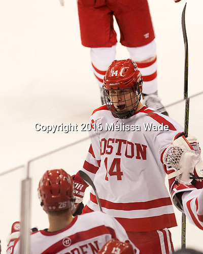 Bobo Carpenter (BU - 14) The Boston University Terriers defeated the visiting Yale University Bulldogs 5-2 on Tuesday, December 13, 2016, at the Agganis Arena in Boston, Massachusetts.