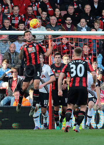 25.10.2015. Vitality Stadium, Bournemouth, England. Barclays Premier League. Bournemouth versus Tottenham Hotspur. Steve Cook of Bournemouth heads a Tottenham cross clear