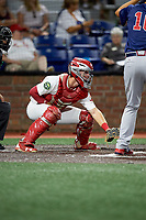 Johnson City Cardinals catcher Zach Jackson (15) awaits the pitch during a game against the Danville Braves on July 28, 2018 at TVA Credit Union Ballpark in Johnson City, Tennessee.  Danville defeated Johnson City 7-4.  (Mike Janes/Four Seam Images)