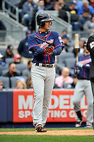 Apr 07, 2011; Bronx, NY, USA; Minnesota Twins infielder Tsuyoshi Nishioka (1) during game against the New York Yankees at Yankee Stadium. Yankees defeated the Twins 4-3. Mandatory Credit: Tomasso De Rosa/ Four Seam Images