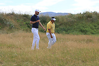 Chris Wood (ENG) and Kiradech Aphibarnrat (THA) on the 10th during Round 2 of the Dubai Duty Free Irish Open at Ballyliffin Golf Club, Donegal on Friday 6th July 2018.<br /> Picture:  Thos Caffrey / Golffile