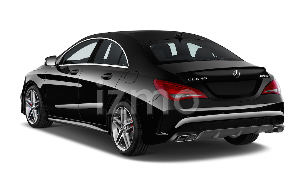 Car pictures of rear three quarter view of a 2014 Mercedes Benz CLA Class 45 AMG 4 Door Sedan angular rear