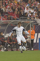 New England Revolution defender Seth Sinovic (27) traps the ball. SL Benfica  defeated New England Revolution, 4-0, at Gillette Stadium on May 19, 2010.