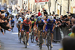 Marco Canola (Ita) Nippo-Vini Fantini-EUR.OV., Pieter Serry (BEL) Deceuninck-Quick Step and Geraint Thomas (WAL) Team Sky climb Via Santa Caterina in Siena in the last km of Strade Bianche 2019 running 184km from Siena to Siena, held over the white gravel roads of Tuscany, Italy. 9th March 2019.<br /> Picture: Eoin Clarke | Cyclefile<br /> <br /> <br /> All photos usage must carry mandatory copyright credit (&copy; Cyclefile | Eoin Clarke)