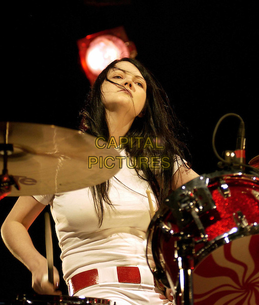 THE WHITE STRIPES.MEG WHITE.play live at The Greek Theatre, Los Angeles.music, concert, gig, stage, playing drums.www.capitalpictures.com.sales@capitalpictures.com.©Capital Pictures.