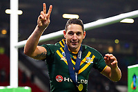 Picture by Alex Whitehead/SWpix.com - 30/11/2013 - Rugby League - Rugby League World Cup Final - New Zealand v Australia - Old Trafford, Manchester, England - Australia's Billy Slater celebrates after the game. Rugby League World Cup 2013 re edited 11/10/2017 Best Of