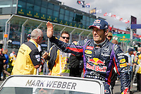 MELBOURNE, 17 MARCH - Mark Webber in the drivers' parade ahead of the 2013 Formula One Rolex Australian Grand Prix at the Albert Park Circuit in Melbourne, Australia. Photo Sydney Low/syd-low.com