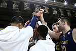 WINSTON-SALEM, NC - FEBRUARY 24: Notre Dame players huddle before the game. The Wake Forest University Demon Deacons hosted the University of Notre Dame Fighting Irish on February 24, 2018 at Lawrence Joel Veterans Memorial Coliseum in Winston-Salem, NC in a Division I men's college basketball game. Notre Dame won the game 76-71.