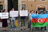 Roma, 6 Aprile 2016<br /> Protesta a Montecitorio contro l'Armenia .<br /> Manifestanti con la bandiera dell'Azerbaigian accusano il Presidente armeno di genocidio.<br /> <br /> Protest outside Montecitorio against Armenia.<br /> Demonstrators with flag of Azerbaijan accuse the President of Armenia genocide.<br /> Rome, April 6, 2016