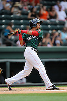 Infielder Javier Guerra (31) of the Greenville Drive bats in a game against the Rome Braves on Sunday, June 14, 2015, at Fluor Field at the West End in Greenville, South Carolina. Guerra is the No. 13 prospect of the Boston Red Sox, according to Baseball America. (Tom Priddy/Four Seam Images)