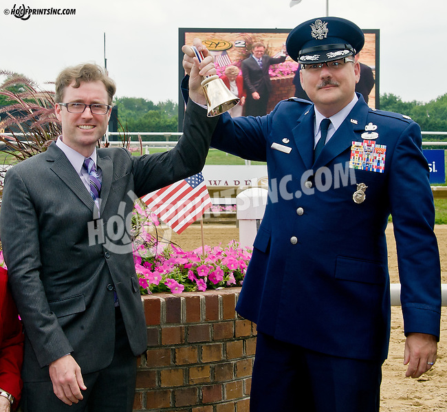 Ring the Bell for freedom Troop Tribute Race at Delaware Park on 7/3/14<br /> Tim Schuback of MALMARK, INC. The Bellcraftsmen & Lt. Col. Joel Briske The Commander Security Forces Squadron Dover Air Force Base  Ringing The Freedom bell