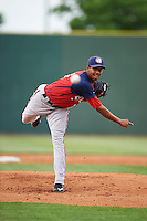 Hagerstown Suns pitcher Luis Reyes (14) delivers a pitch during a game against the Lexington Legends on May 22, 2015 at Whitaker Bank Ballpark in Lexington, Kentucky.  Lexington defeated Hagerstown 5-1.  (Mike Janes/Four Seam Images)