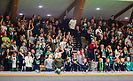 Stockholm 2014-12-03 Handboll Elitserien Hammarby IF - IFK Sk&ouml;vde :  <br /> Hammarbys supportrar jublar i Eriksdalshallen under matchen mellan Hammarby IF och IFK Sk&ouml;vde <br /> (Foto: Kenta J&ouml;nsson) Nyckelord:  Eriksdalshallen Hammarby HIF Bajen IFK Lugi supporter fans publik supporters jubel gl&auml;dje lycka glad happy