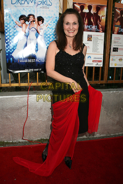 "BETH GRANT.""Dreamgirls"" DVD Release Party at Arena Nightclub, Hollywood, California, USA..April 26th, 2007.full length black dress red sheer scarf wrap.CAP/ADM/BP.©Byron Purvis/AdMedia/Capital Pictures"