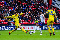 Dynamo Kyiv's midfielder Volodymyr Shepeliev (15) for Ukraine U21's challenges Leicester City's forward Demarai Gray (7) for England U21's during the International Euro U21 Qualification match between England U21 and Ukraine U21 at Bramall Lane, Sheffield, England on 27 March 2018. Photo by Stephen Buckley / PRiME Media Images.
