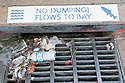 """No Dumping! Flows To Bay"" sign painted above a storm drain. The signage appeals to people who may otherwise dump contaminants such as motor oil. Some water is flowing into the drain but the grate is partially blocked by leaves, plastic bags, and a plastic water bottle."