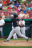 Great Lakes Loons designated hitter Willie Calhoun (3) hits a home run during a game against the Kane County Cougars on August 13, 2015 at Fifth Third Bank Ballpark in Geneva, Illinois.  Great Lakes defeated Kane County 7-3.  (Mike Janes/Four Seam Images)