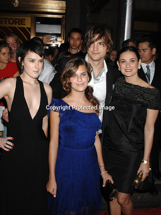 "Ashton Kutcher, Demi Moore and Rumer Willis and Tallulah Willis..arriving at The ""Live Free or Die Hard "" movie premiere on June 22, 2007 at Radio City Music Hall in New York. ..Robin Platzer, Twin Images....212-935-0770"