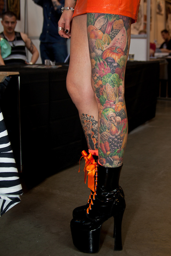 Copenhagen Inkfestival 2012. Leg with tattooed fruits and vegetables