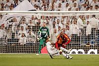6th November 2019; Estadio Santiago Bernabeu, Madrid, Spain; UEFA Champions League Football, Real Madrid versus Galatasaray; Marcao (Gal) collides with Rodrygo (Real Madrid) - Editorial Use