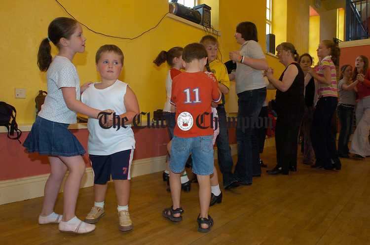 Young set dancers get into the swing of things  in John Fennell's class as part of the Eigse Mrs Crotty Festival in Kilrush. Photograph by John Kelly.