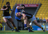 James O'Reilly tackles Josh Dickson during the Mitre 10 Cup rugby match between Wellington Lions and Otago at Westpac Stadium in Wellington, New Zealand on Sunday, 19 August 2018. Photo: Dave Lintott / lintottphoto.co.nz