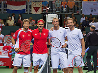 Switserland, Genève, September 19, 2015, Tennis,   Davis Cup, Switserland-Netherlands, Doubles: Swiss team Marco Chiudinelli/Roger Federer and Dutch team Thiemo de Bakker/Matwe Middelkoop (R)<br /> Photo: Tennisimages/Henk Koster