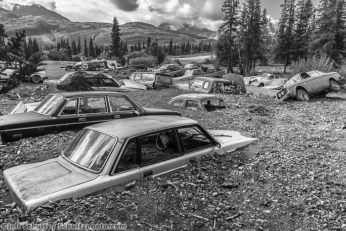 Volvo graveyard in Glacier View Area<br /> <br /> Photo by Jeff Schultz/SchultzPhoto.com  (C) 2018  ALL RIGHTS RESERVED<br /> OM Malik photo tour workshop August-September 2018