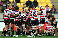 Counties players celebrate victory. ITM Cup - Wellington Lions v Counties-Manukau Steelers at Westpac Stadium, Wellington, New Zealand on Sunday, 8 August 2010. Photo: Dave Lintott/lintottphoto.co.nz.