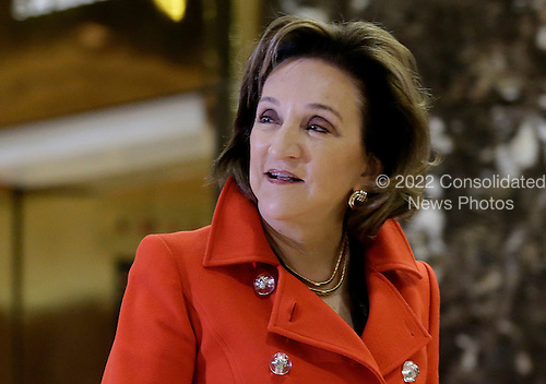 President and CEO of Rolls-Royce North America Marion Blakey walks through the lobby of Trump Tower on November 29, 2016 in New York City.    <br /> Credit: John Angelillo / Pool via CNP