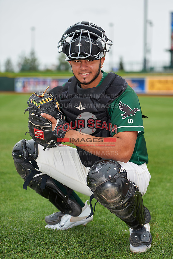 Great Lakes Loons catcher Keibert Ruiz (31) poses for a photo after a game against the Burlington Bees on May 4, 2017 at Dow Diamond in Midland, Michigan.  Great Lakes defeated Burlington 2-1.  (Mike Janes/Four Seam Images)